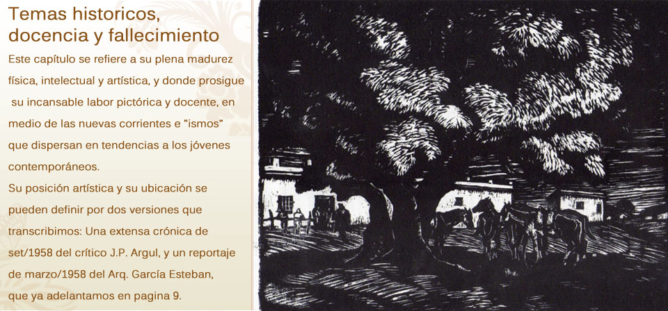 Continua con su arte, temas historicos, docencia y fallecimiento (1948 – 1959)